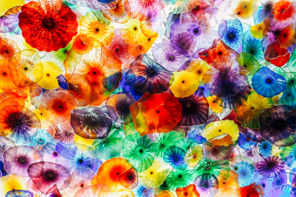 Illuminated colourful flower shapes made of glass or plastic