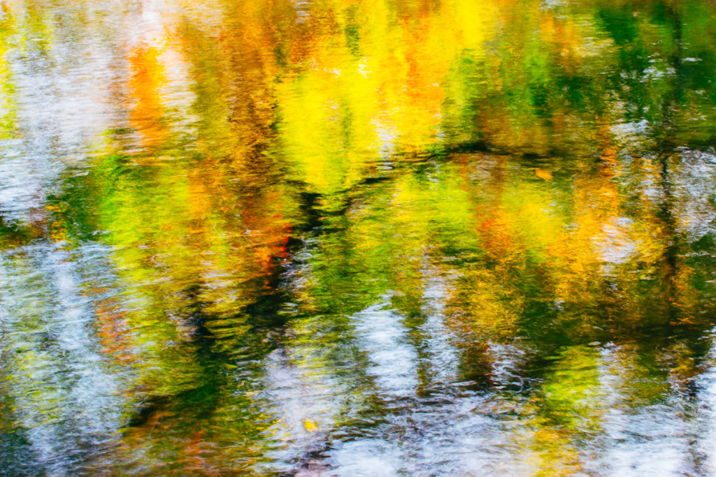 abstract image of water surface with colourful reflections