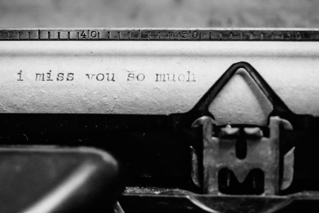 Words written on paper in old typewriter